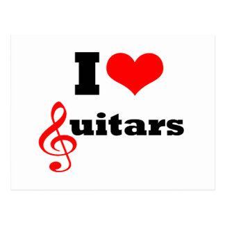 I Love Guitars Postcard