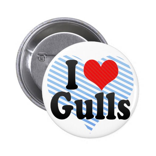 I Love Gulls 2 Inch Round Button