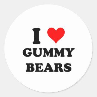 I Love Gummy Bears Classic Round Sticker