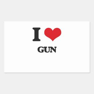 I love Gun Rectangular Sticker