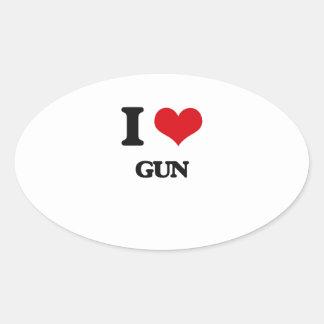 I love Gun Oval Stickers