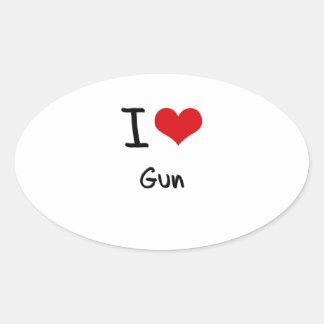 I Love Gun Oval Sticker