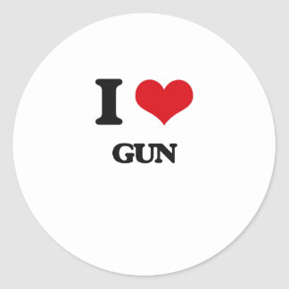 I love Gun Round Sticker