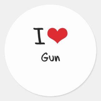 I Love Gun Round Stickers