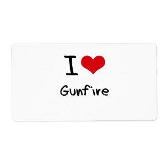 I Love Gunfire Shipping Label