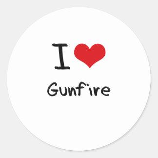 I Love Gunfire Round Stickers