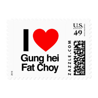 i love gung hei fat choy postage stamps