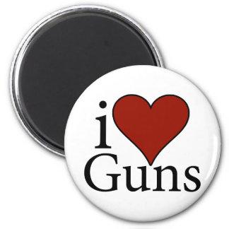 I Love Guns 2 Inch Round Magnet