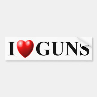 I Love Guns Car Bumper Sticker