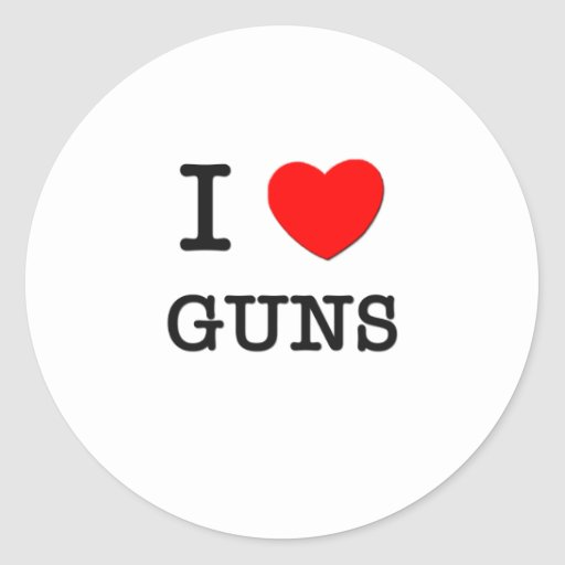 I LOVE GUNS CLASSIC ROUND STICKER