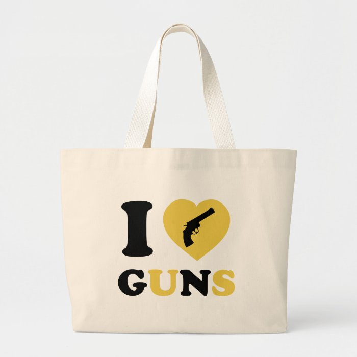 I Love Guns Large Tote Bag