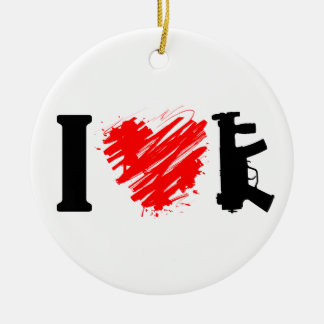 I Love Guns Double-Sided Ceramic Round Christmas Ornament