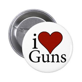 I Love Guns Pinback Button