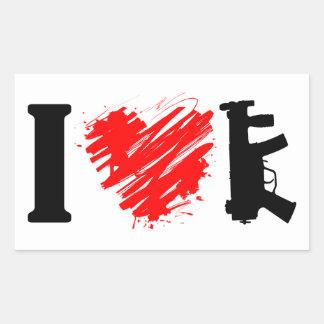 I Love Guns Rectangular Sticker
