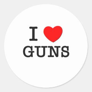 I Love Guns Round Stickers