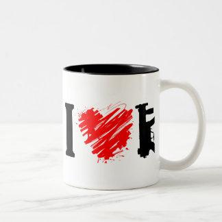 I Love Guns Two-Tone Coffee Mug