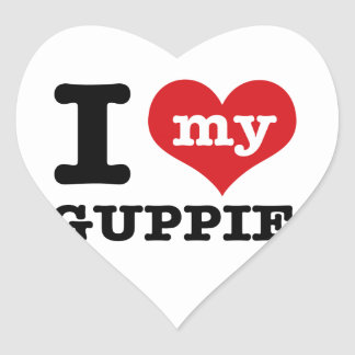 I Love Guppie Stickers