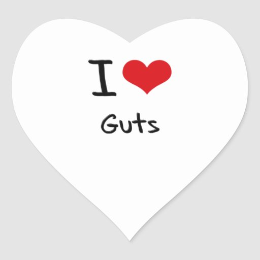 I Love Guts Heart Stickers