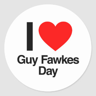 i love guy fawkes day classic round sticker