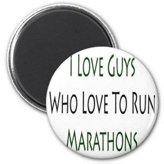 I Love Guys Who Love To Run Marathons 2 Inch Round Magnet