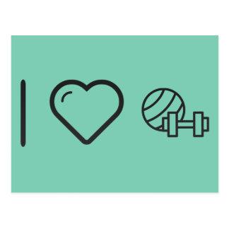 I Love Gym Dumbels Postcard