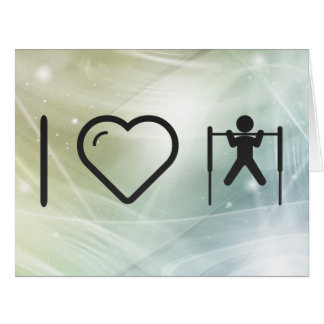 I Love Gym Pullups Large Greeting Card