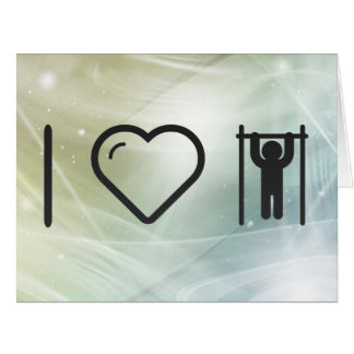 I Love Gymnast Pullups Large Greeting Card