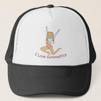 I Love Gymnastics Blonde Trucker Hat