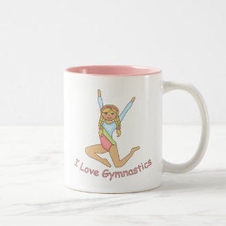 I Love Gymnastics Blonde Two-Tone Coffee Mug
