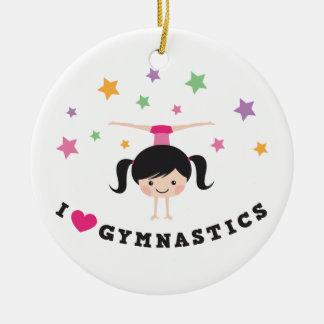 I love gymnastics cartoon girl doing handstand ceramic ornament
