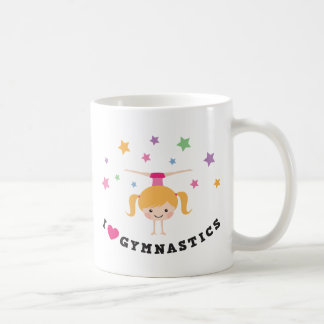 I love gymnastics cartoon girl doing handstand cup coffee mug