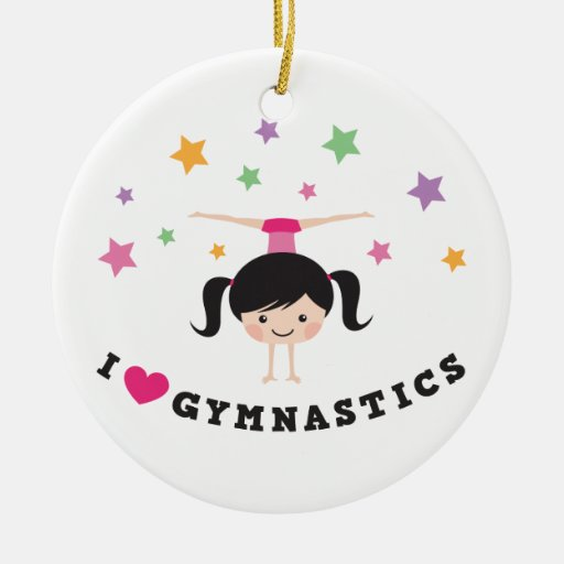 I love gymnastics cartoon girl doing handstand ornament