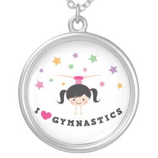 I love gymnastics cartoon girl doing handstand round pendant necklace