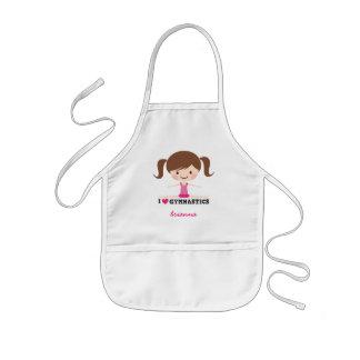 I love gymnastics cartoon girl personalized name kids' apron