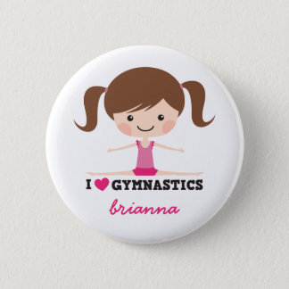 I love gymnastics cartoon girl personalized name button