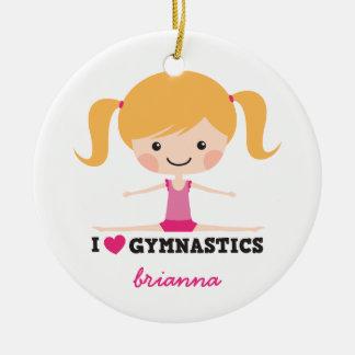 I love gymnastics cartoon girl personalized name ceramic ornament