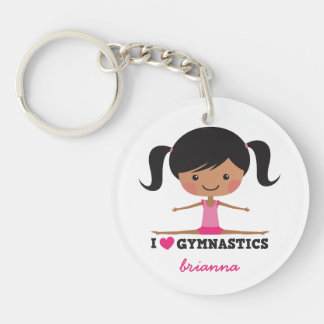 I love gymnastics cartoon girl personalized name keychain