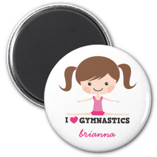 I love gymnastics cartoon girl personalized name 2 inch round magnet