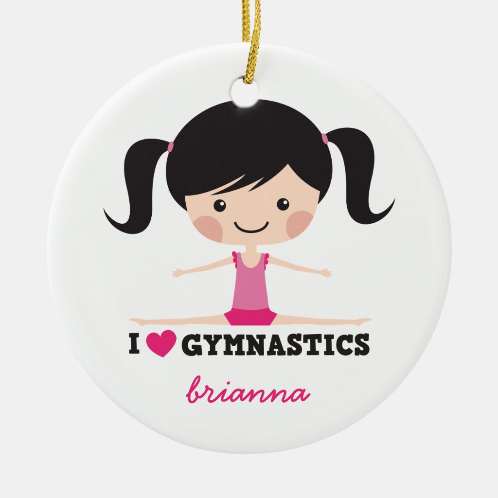 I love gymnastics cartoon girl personalized name Christmas Tree Ornament