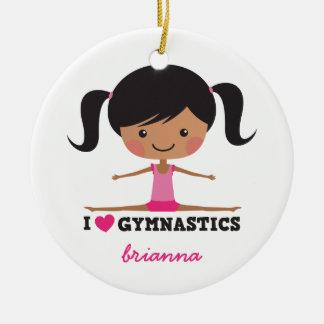 I love gymnastics cartoon girl personalized name ornament