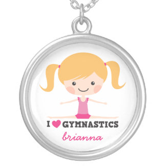 I love gymnastics cartoon girl personalized name silver plated necklace
