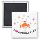 I love gymnastics cartoon girl red hair handstand fridge magnet