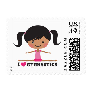 I love gymnastics cartoon girl side splits postage