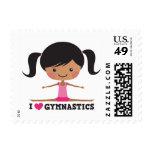 I love gymnastics cartoon girl side splits postage stamps