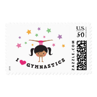 I love gymnastics cartoon girl with stars postage