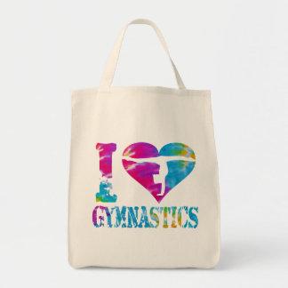 I Love Gymnastics Dance Cheer Organic Grocery Bag
