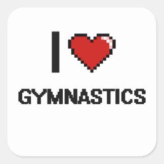 I Love Gymnastics Digital Retro Design Square Sticker