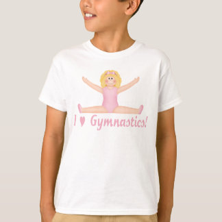 I Love Gymnastics Girl T-shirts (Blonde Gymnast)