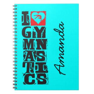 I Love Gymnastics Hunter Personalized Spiral Note Books