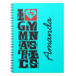 I Love Gymnastics Hunter Personalized Notebooks